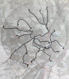 A walking web of routes with 15 minute and 30 minute radial points to be connected by walking as close to a straight line as possible
